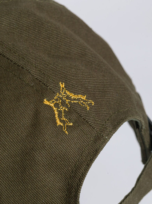 Close Up of Mens Green Cotton Baseball Cap Embroidery