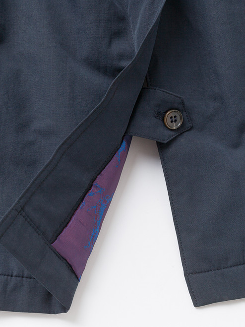 Buttoned vent on Navy Blue Weatherwear Padded Raincoat