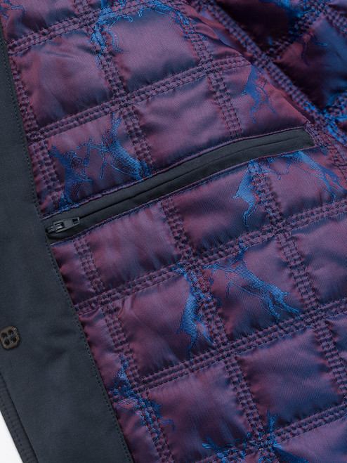 Exclusive lining on Navy Blue Weatherwear Padded Raincoat