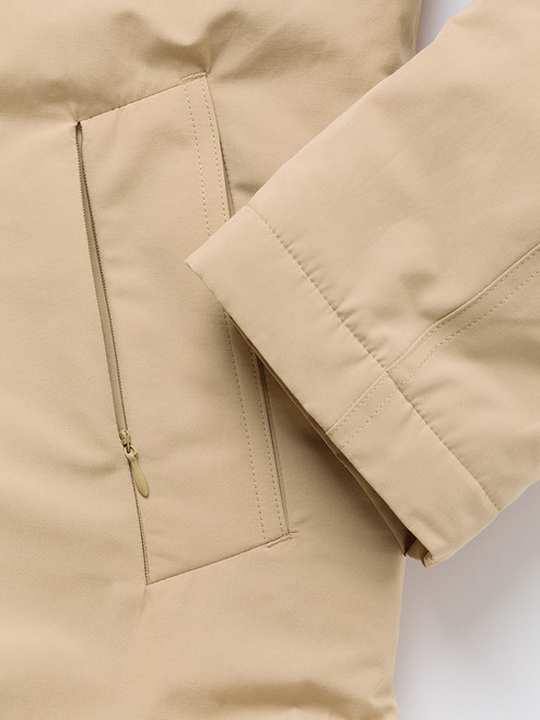 Outer pocket on Sand Brown Weatherwear Padded Raincoat