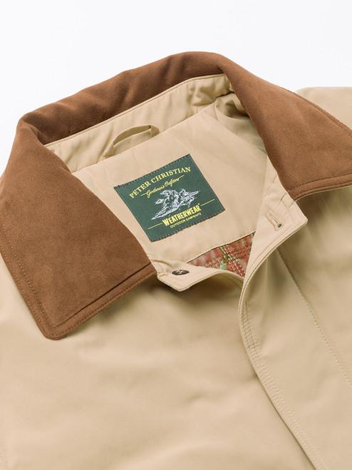 Suedette collar on Sand Brown Weatherwear Padded Raincoat
