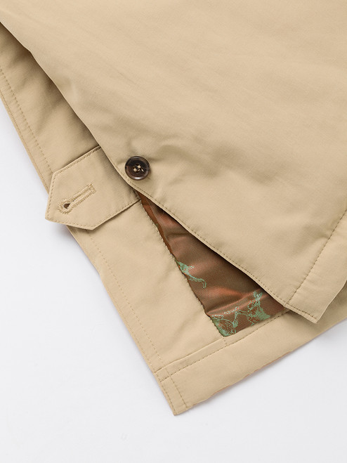 Buttoned vent on Sand Brown Weatherwear Padded Raincoat