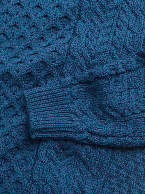 Detail of Blue Traditional Irish Aran Jumper