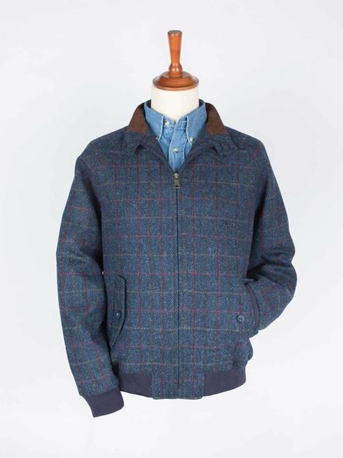 Image of Blue Harris Tweed Harrington Jacket
