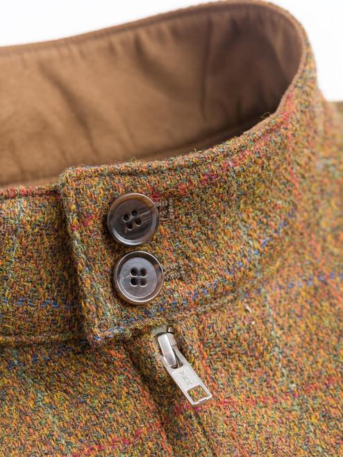 Button Collar on Amber Harris Tweed Harrington Jacket
