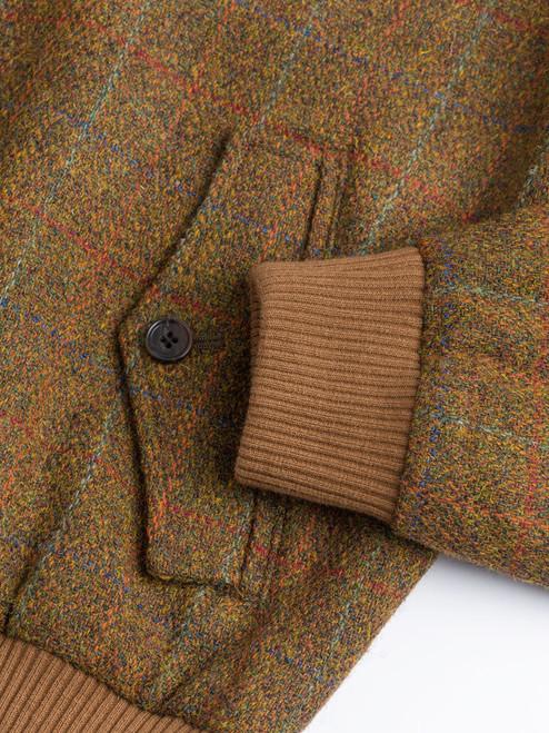 Ribbed Cuff on Amber Harris Tweed Harrington Jacket