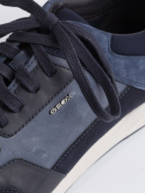 Lace detail on Navy Geox Spherica Leather Trainers