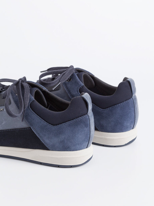 Suede heels on Navy Geox Spherica Leather Trainers