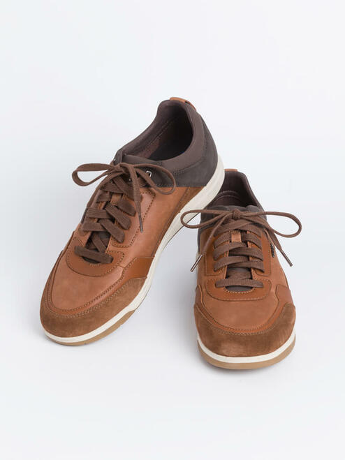 Brown Geox Spherica Leather Trainers