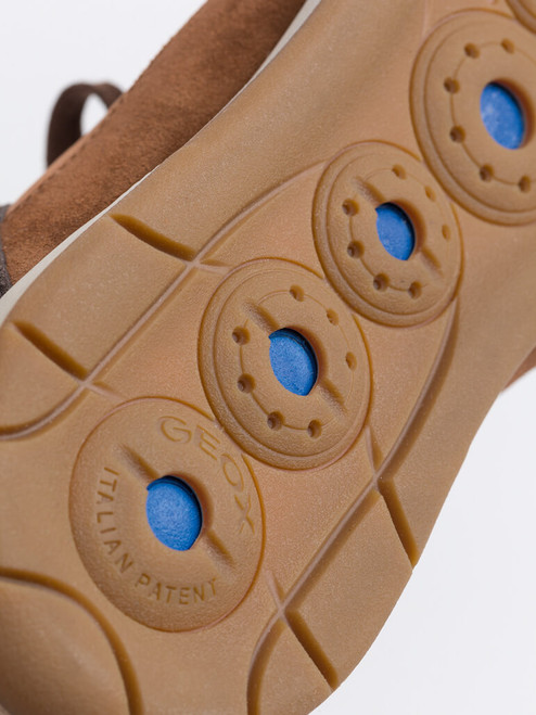 Breathable sole on Brown Geox Spherica Leather Trainers
