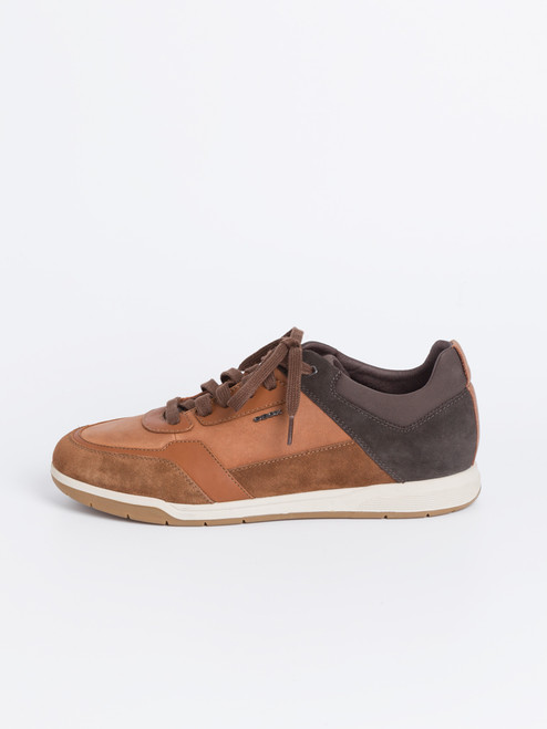 Brown Geox Spherica Leather and Suede Trainers