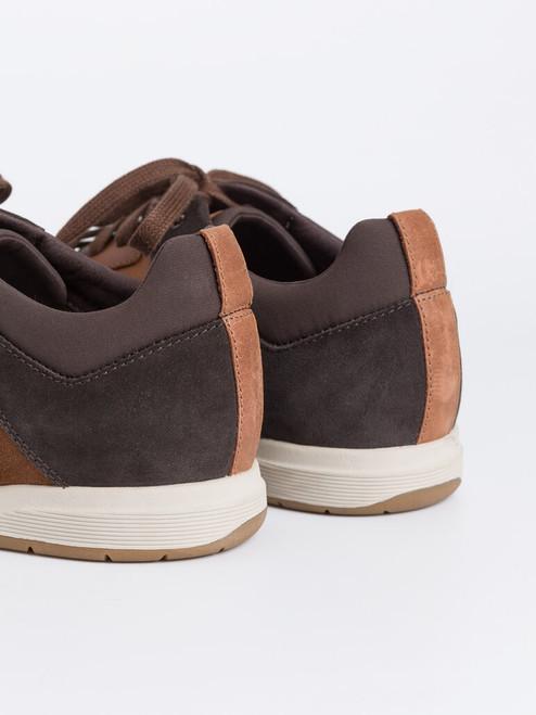 Suede heels on Brown Geox Spherica Leather Trainers