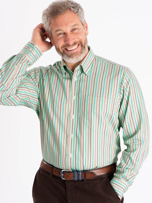 Model wears Green Multi Coloured Sussex Stripe Shirt