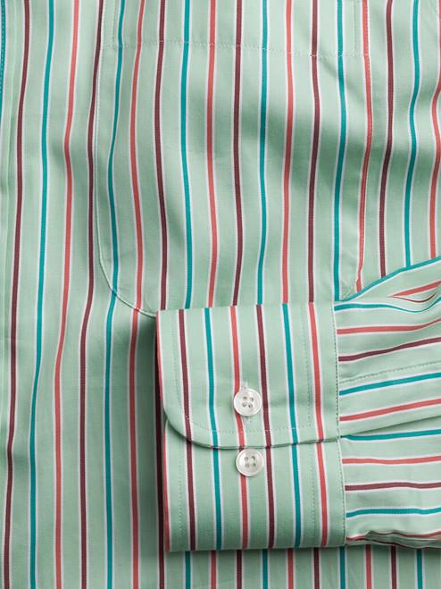 Adjustable button cuff on Green Multi Coloured Sussex Stripe Shirt