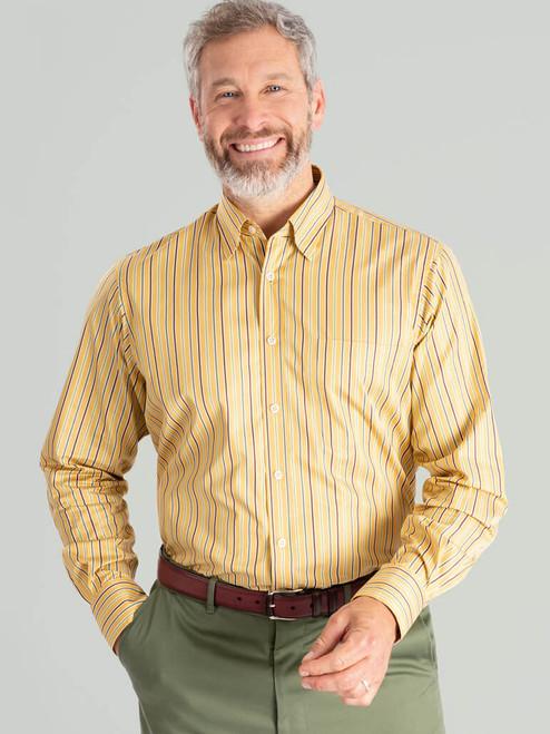 Model wears Mustard Multi Coloured Sussex Stripe Shirt