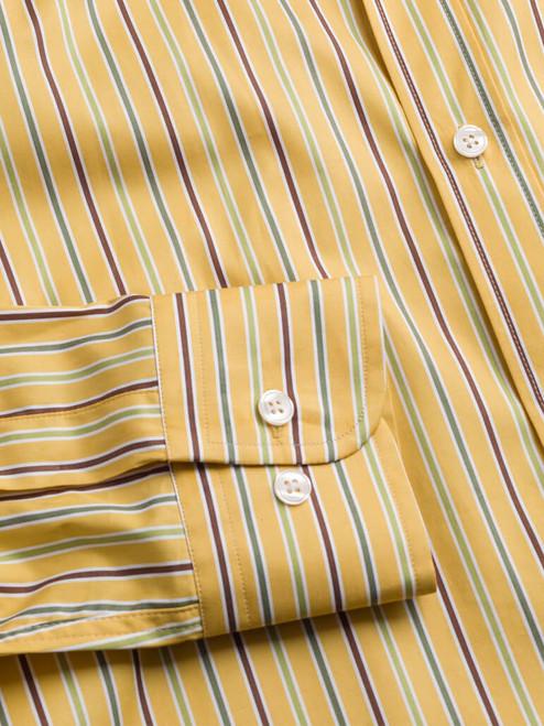 Adjustable button cuff on Mustard Multi Coloured Sussex Stripe Shirt