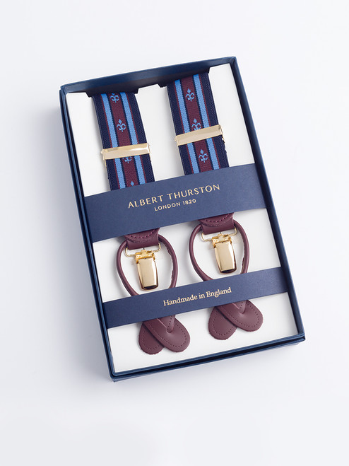 Presentation box of Blue/Brown 2-in-1 Fleur-de-Lys Braces