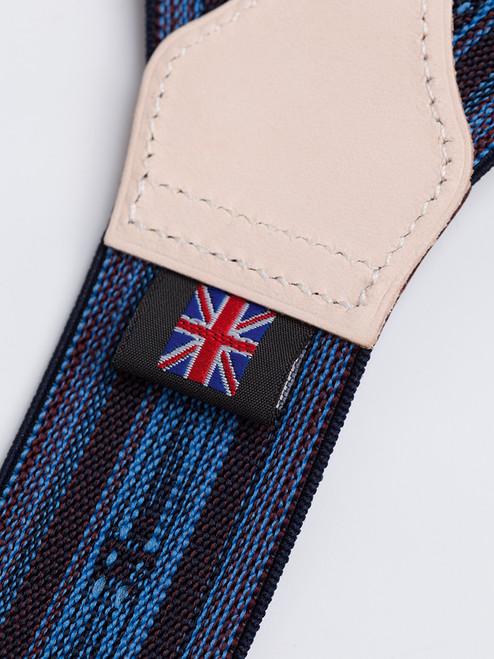 Leather rear of Blue/Brown 2-in-1 Fleur-de-Lys Braces