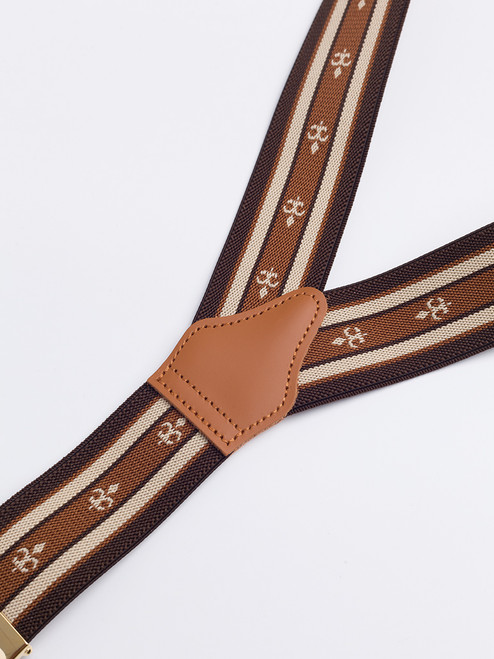 Leather rear of Tan/Brown 2-in-1 Fleur-de-Lys Braces