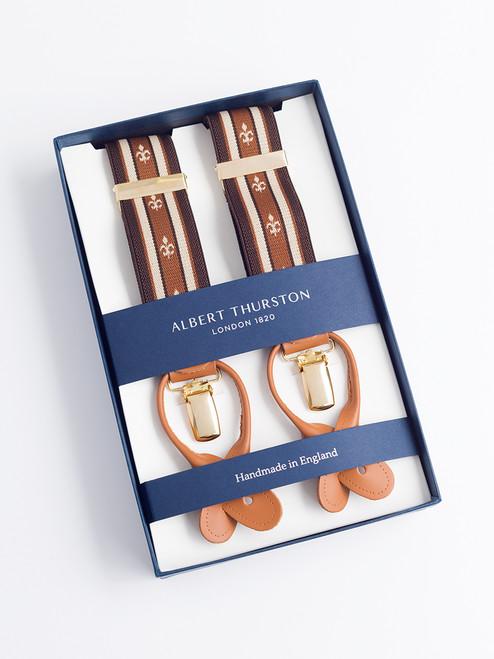 Presentation box of Tan/Brown 2-in-1 Fleur-de-Lys Braces