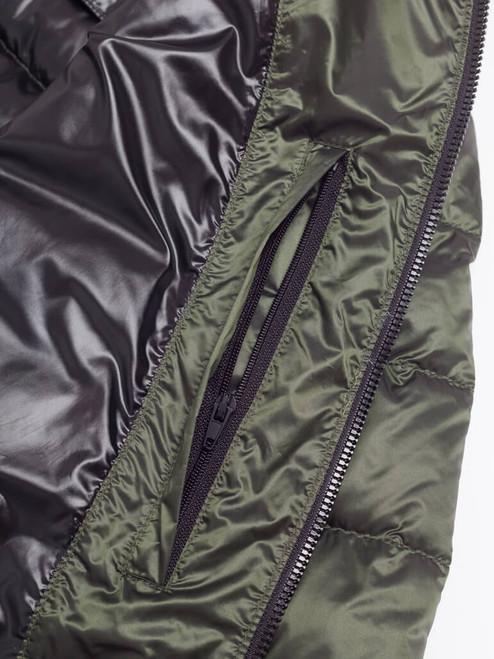 Inner zip pocket on Green Geox Down Jacket