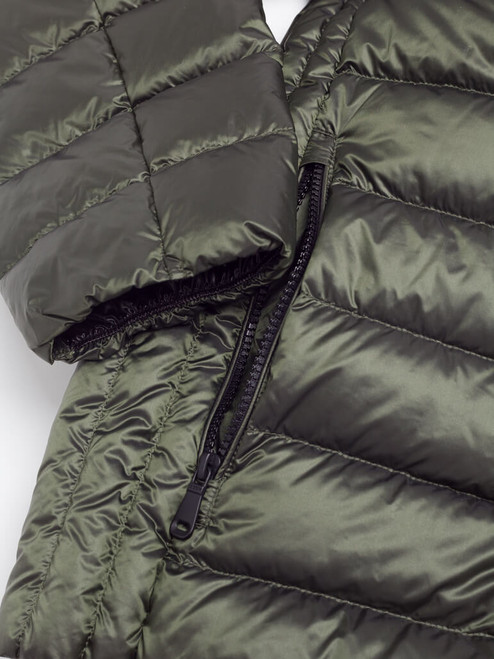 Outer zip pocket on Green Geox Down Jacket