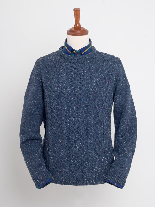 Ribbed collar and cuffs on Indigo Donegal Cable Knit Jumper