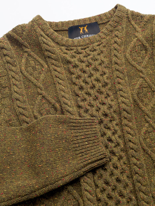 Ribbed collar and cuffs on Moss Donegal Cable Knit Jumper