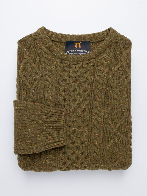 Moss Donegal Cable Knit Jumper