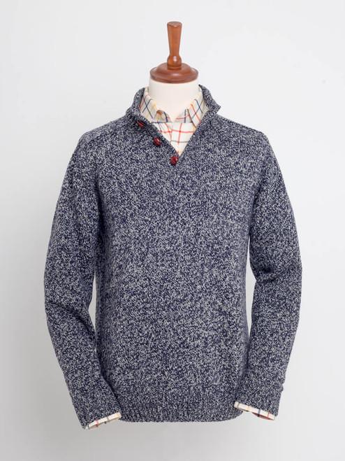 Navy Button Neck Pullover