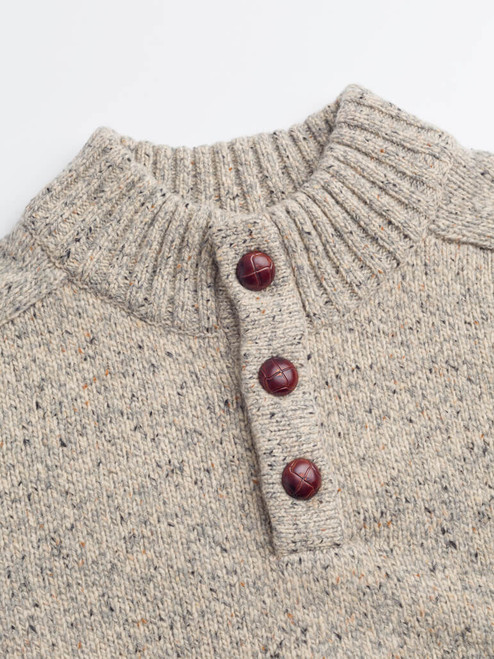 Football buttons on Oatmeal Button Neck Pullover