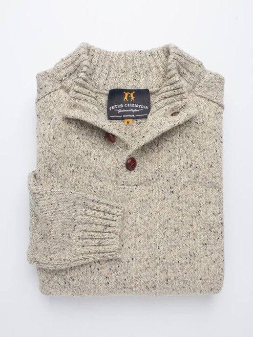 Oatmeal Button Neck Pullover