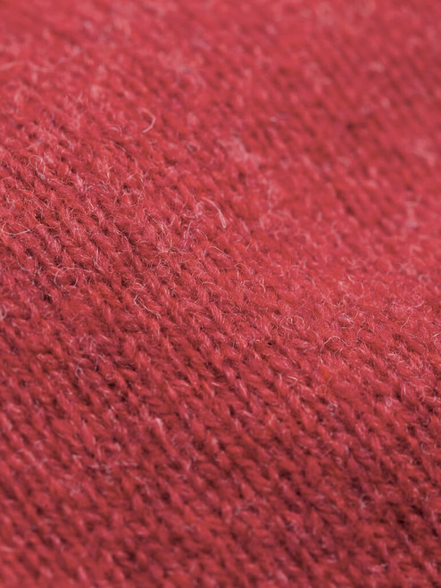 Fabric detail of Raspberry Quarter-Zip Lambswool Jumper