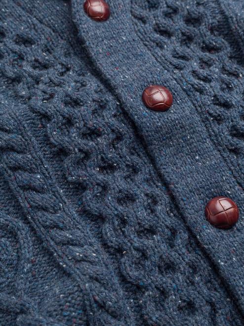 Buttons on Indigo Aran Shawl Neck Cardigan
