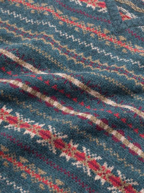 Fabric detail of Teal Lambswool Fairisle Slipover