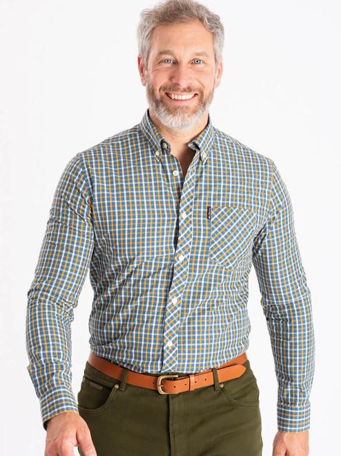 Model wears Mustard Ben Sherman Long Sleeve House Check Shirt