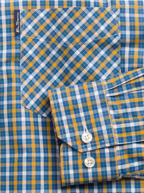 Adjustable cuff on Mustard Ben Sherman Long Sleeve House Check Shirt
