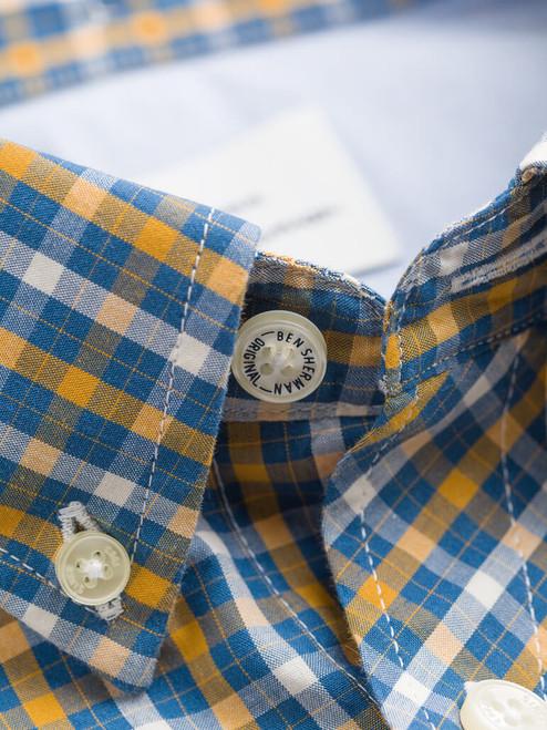 Button-down collar on Mustard Ben Sherman Long Sleeve House Check Shirt