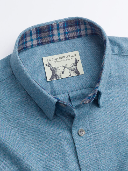 Contrast collar on Turquoise Blue Brushed Cotton Shirt