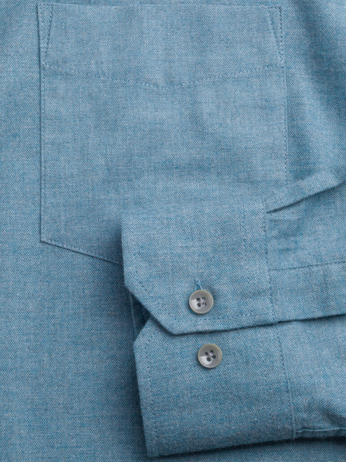 Adjustable button cuff on Turquoise Blue Brushed Cotton Shirt