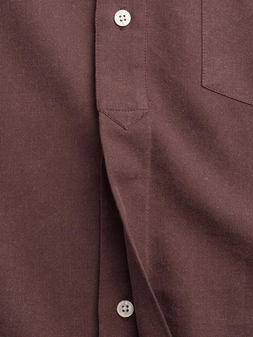 Hidden half placket on Chocolate Half Placket Shirt