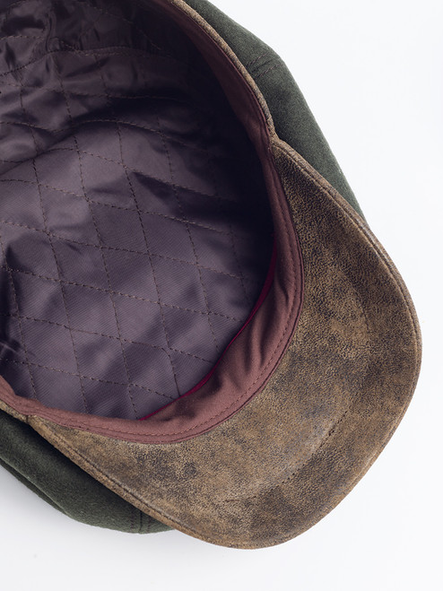 Quilted satin lining of Pine Leather Peak Baker Boy Cap