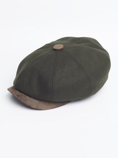 Pine Leather Peak Baker Boy Cap