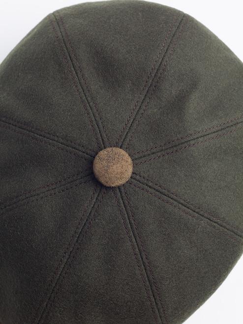 Button top of Pine Leather Peak Baker Boy Cap