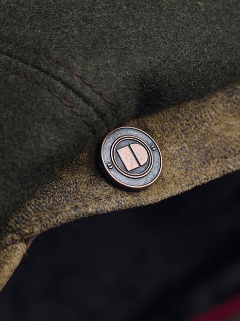 Detail of Pine Leather Peak Baker Boy Cap