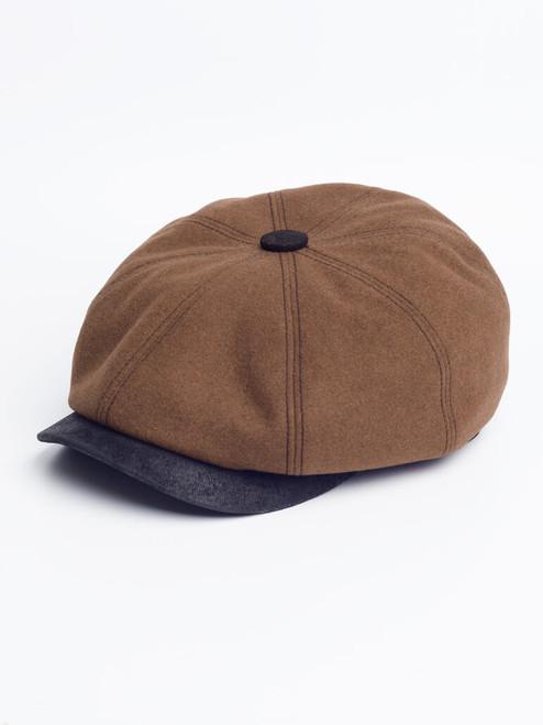 Cognac Leather Peak Baker Boy Cap