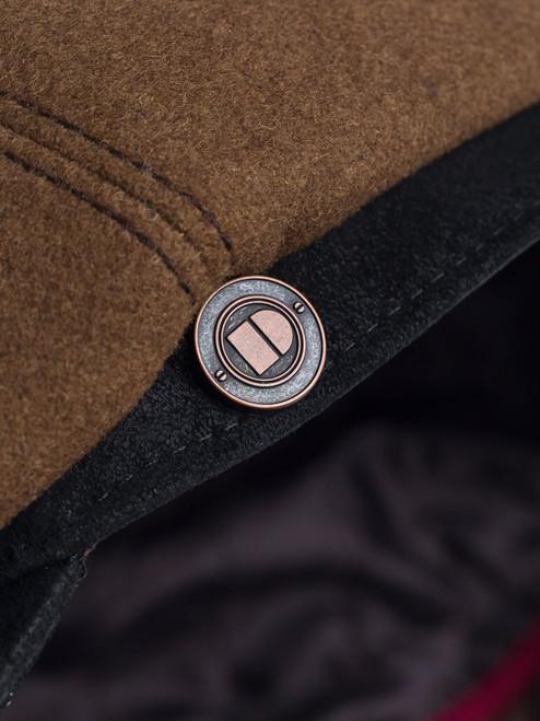 Detail of Cognac Leather Peak Baker Boy Cap