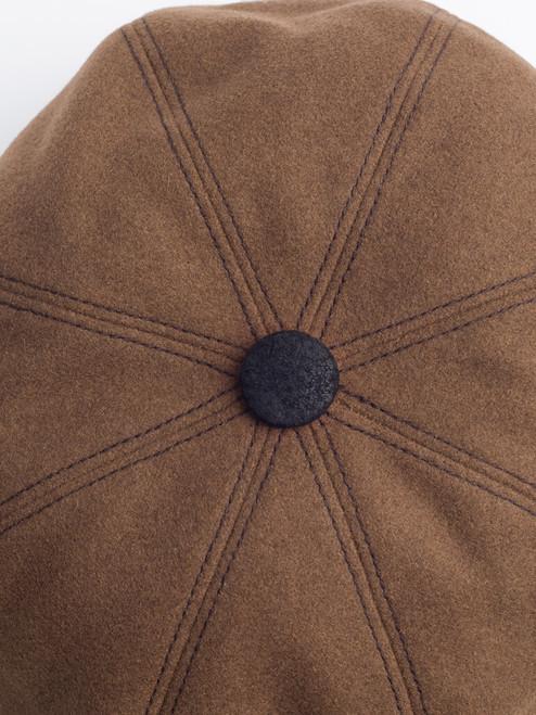 Button top of Cognac Leather Peak Baker Boy Cap