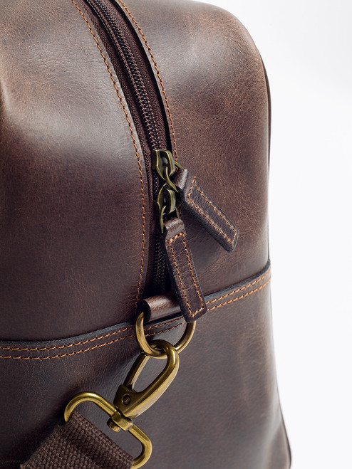 Two-way zip on Harris Tweed & Leather Holdall
