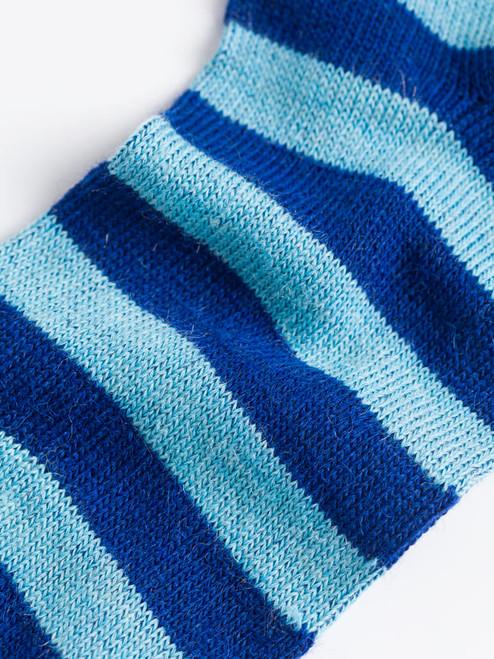 Detail of Navy Striped Mohair & Merino Socks